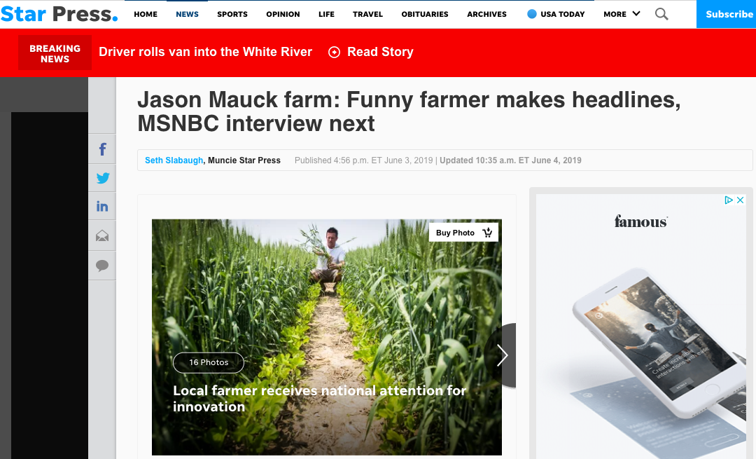 Jason Mauck farm: Funny farmer makes headlines, MSNBC interview next
