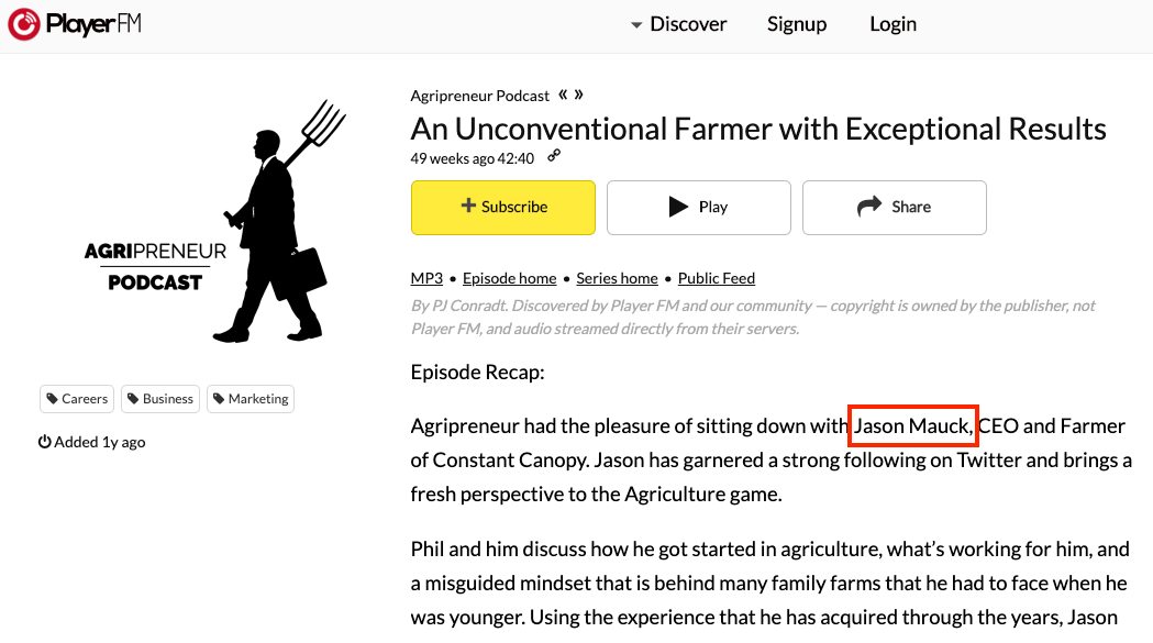 An unconventional farmer with exceptional results